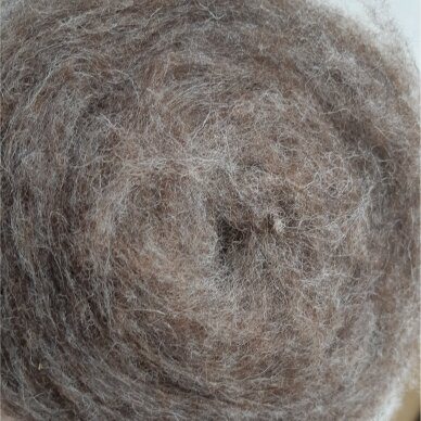 Tyrol carded wool 50g. ± 2,5g. Color - brown melange, 27 - 32 mik.