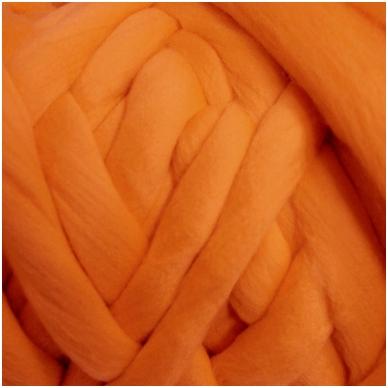 Wool tops 50g. ± 2,5g. Color - orange , 26 - 31 mik.