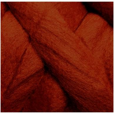 Wool tops 50g. ± 2,5g. Color - brick, 26 - 31 mik.