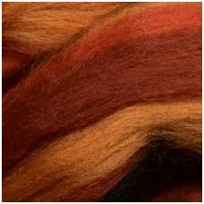 Multicolor Merino tops 50g. ± 2,5g. Colors - orange, red, black, 20,1 - 23 mik.