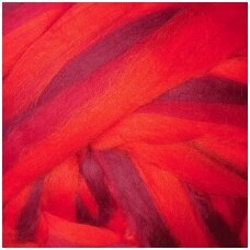 Multicolor Merino tops 50g. ± 2,5g. Colors - red hues, 20,1 - 23 mik.