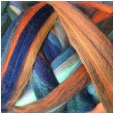 Multicolor Merino tops 50g. ± 2,5g. Colors - orange,blue,green, 20,1 - 23 mik.