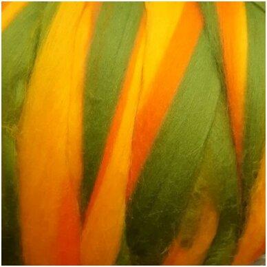 Multicolor Merino tops 50g. ± 2,5g. Colors - yellow, green, brown, 20,1 - 23 mik.