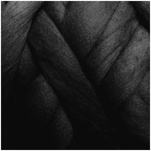 Merino vilnos sluoksna 50g. ± 2,5g. Spalva - juoda, 20,1 - 23 mik.