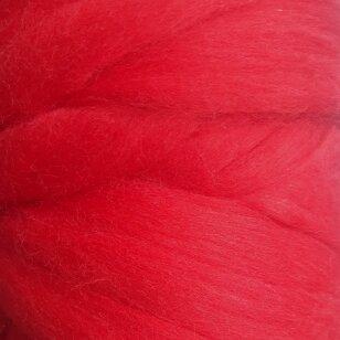 Merino vilnos sluoksna 50g. ± 2,5g. Spalva - raudona, 18,6-20 mik.