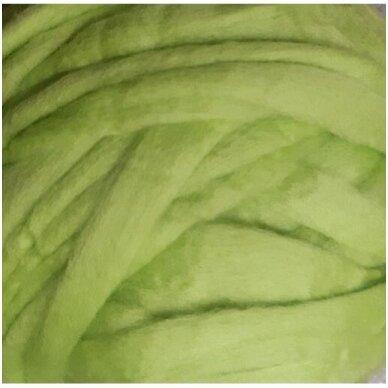 Merino vilnos pieštukinė sluoksna 50g.  ± 2,5g. Spalva - salotinė, 20,1 - 23 mik.
