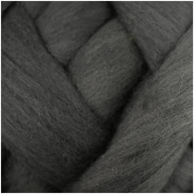 Medium Merino wool tops 50g. ± 2,5g. Color - dark gray, 20.1 - 23 mik.