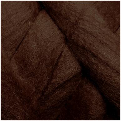 Merino vilnos sluoksna 50g. ± 2,5g. Spalva - tamsi ruda, 20,1 - 23 mik.