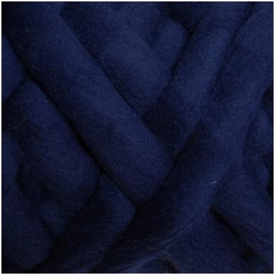 Merino vilnos sluoksna 50g. ± 2,5g. Spalva -tamsiai mėlyna, 18,6-20 mik.
