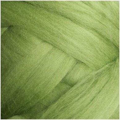 Merino vilnos sluoksna 50g. ± 2,5g. Spalva - žolės žalia, 18,6-20 mik.