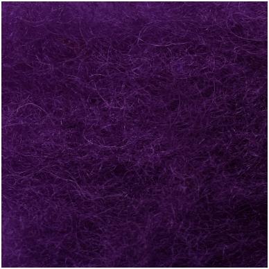 N. Zelandijos vilnos karšinys 50g. ± 2,5g. Spalva - purpurinė violetinė, 27 - 32 mik. 2