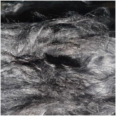 Prekės kodas LN7043.Linų pluoštas veltinių dekoravimui. Spalva: pilka tamsi. Pakuotėje 10 gramų.