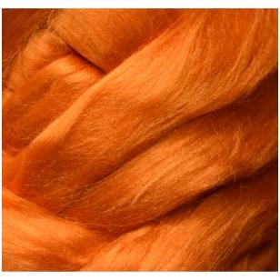 Viskozės pluoštas veltinio dekoravimui. Spalva - oranžinė (blizgi). Pakuotės svoris 10gr.