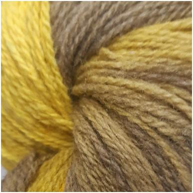 Vilnonių siūlų matkelis 150g. ± 5%. Spalva - geltona, šviesi geltona, ruda. Sudėtis - 100% vilna.