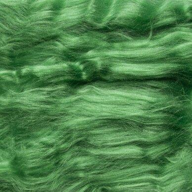Viskozės pluoštas veltinio dekoravimui. Spalva -obuolio žalia (blizgi). Pakuotės svoris 10gr.